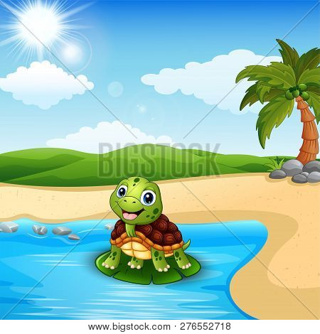 Cartoon Cute And Smiling  Turtle On The Beach