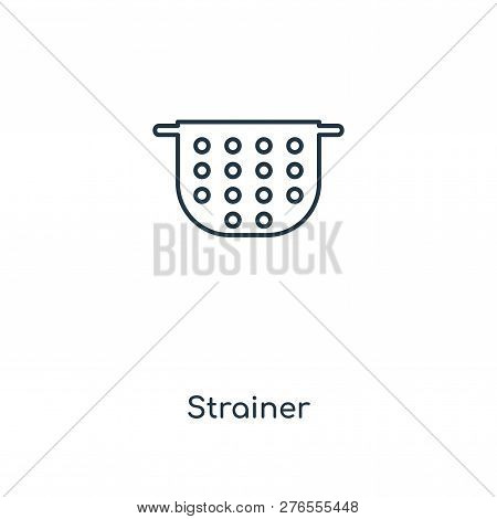Strainer Icon In Trendy Design Style. Strainer Icon Isolated On White Background. Strainer Vector Ic
