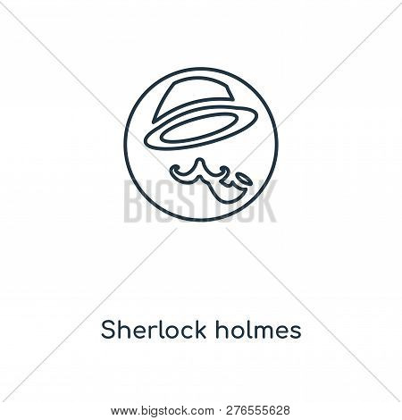 Sherlock Holmes Icon In Trendy Design Style. Sherlock Holmes Icon Isolated On White Background. Sher