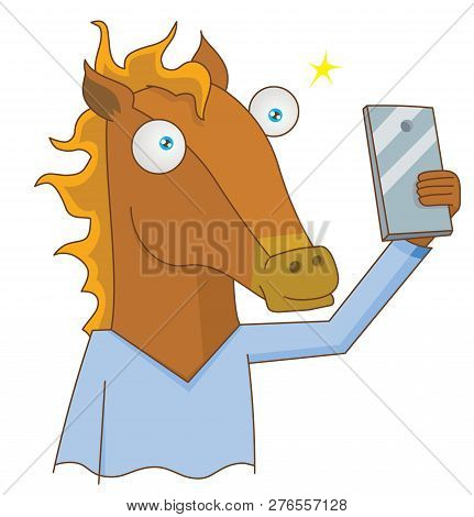 Illustration Of Human Horse Selfie Using Smartphone