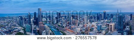 Panorama Of Melbourne's City Center From A High Point. Australia. Beautiful Panorama Of Skyscrapers