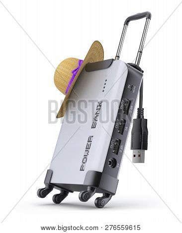 Power Bank For Travel - 3d Illustration (3d Concept With Power Bank And Hat On Suitcase Frame)