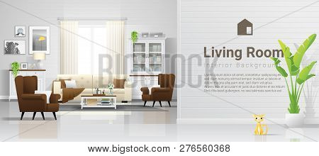 Warm And Bright Living Room Background With Furniture In Modern Rustic Style , Vector , Illustration