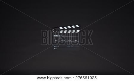 Clapperboard Or Clap Board Or Movie Slate With Black Director Chair Use In Video Production ,film, C