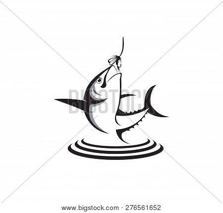 Sport Fishing Or Angler Icon Vector Logo Design