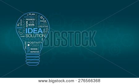 Word Cloud With The Shape Of A Light Bulb, Concept Of Idea, Think And Solution, Background With Cogw