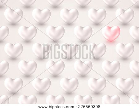 3d Metallic Heart Valentines Day Background. Beautiful Realistic Shape Of Pastel Pink And Silver Her