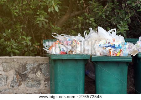 Bin Waste, Garbage Waste Plastic Trash, Full Bins Waste Plastic Bags Close Up, Pollution Trash Plast