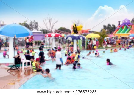 Blur Water Park Background And Children Playing, Blurred Picture Of Group Children Playing In The Wa