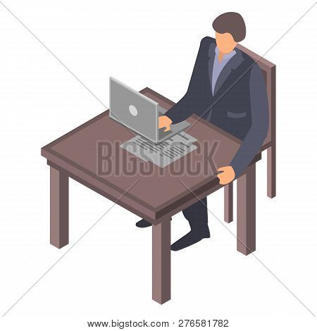 Man At Office Desktop Icon. Isometric Of Man At Office Desktop Icon For Web Design Isolated On White