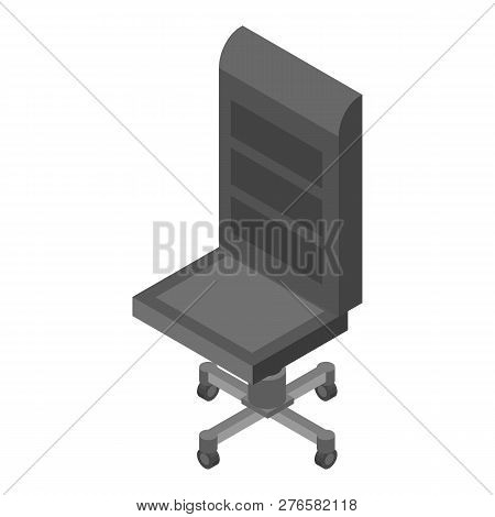 Leather Office Chair Icon. Isometric Of Leather Office Chair Icon For Web Design Isolated On White B