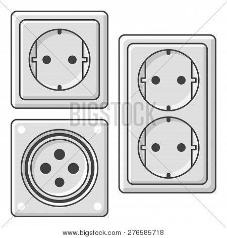 A Set Of Sockets. Vector Illustration On White Background.