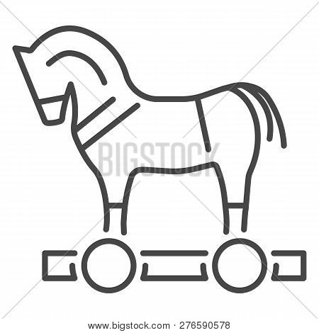 Trojan horse virus icon. Outline trojan horse virus icon for web design isolated on white background poster