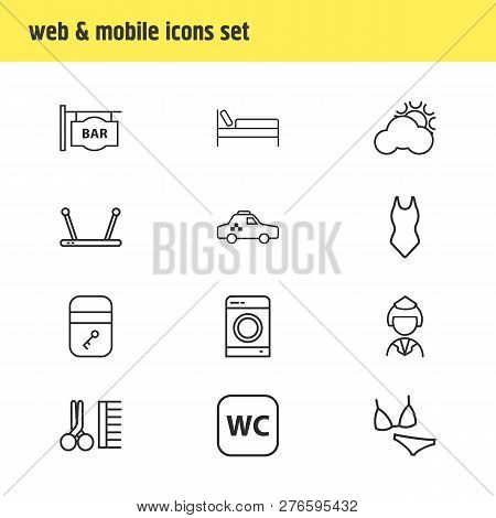 illustration of 12 vacation icons line style. Editable set of bar, weather, servant and other icon elements. poster