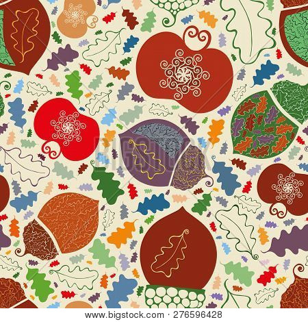 Vector Lively Vibrant Orchard Apples, Acorns And Leaves Seamless Pattern Background In Ornamental Fo
