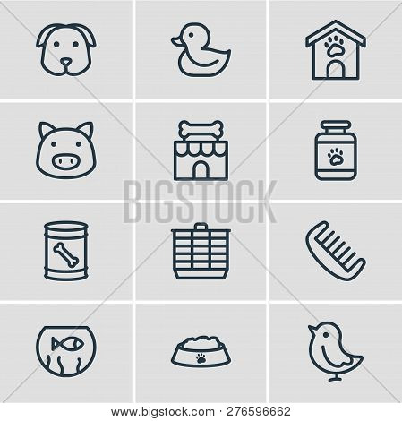 Vector Illustration Of 12 Animal Icons Line Style. Editable Set Of Duck, Kennel, Fishbowl And Other