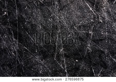 Black Ice Hockey Texture Background With Scratches
