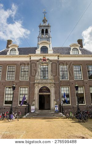 Edam, Netherlands - August 25, 2017: Front Of The Historic Town Hall Of Edam, Holland