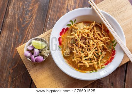 Khao Soi. Curried Noodle Soup Thailand Call Khao Soi. Khao Soi Thai Food Style. Noodle Curry Soup Or