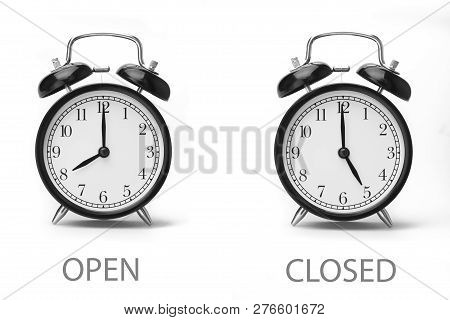 Sign Showing Business Opening Hours Black And White Image Isolated On White Background