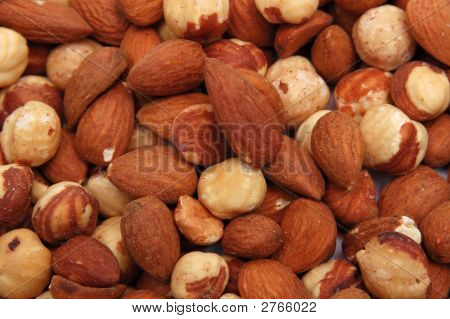 Closeup Picture Of Hazelnuts And Almonds
