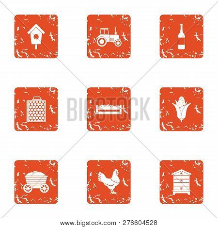 Rural Area Icons Set. Grunge Set Of 9 Rural Area Icons For Web Isolated On White Background