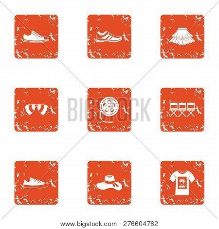 Audition Icons Set. Grunge Set Of 9 Audition Icons For Web Isolated On White Background