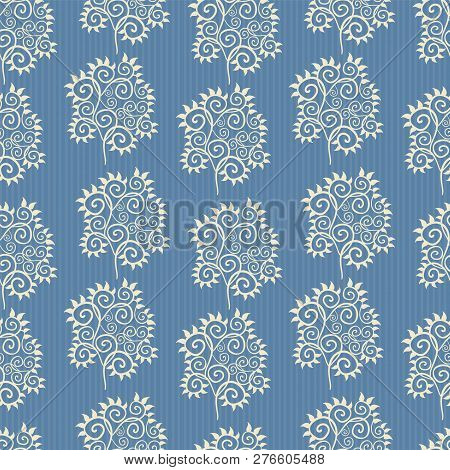 Vector Blue And White Abstract Leaves Ornamental Design With Subtle Stripes As Seamless Pattern Back