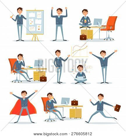 Man Busy With Work, Businessman Characters At Work Vector. Superhero And Director Talking On Phone.