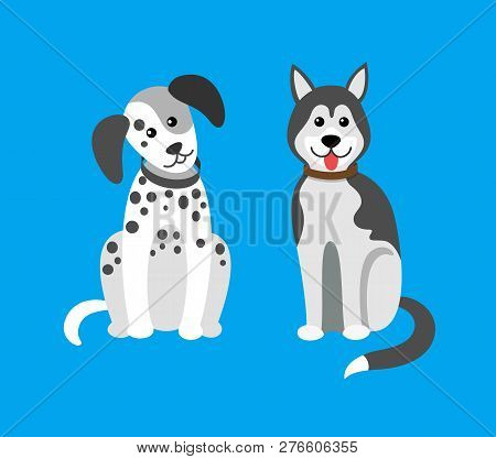 Dog Puppies Sitting In Clinic, Hospital Doggy Pets Vector. Breeds Of Mammal Animals Doggish Creature