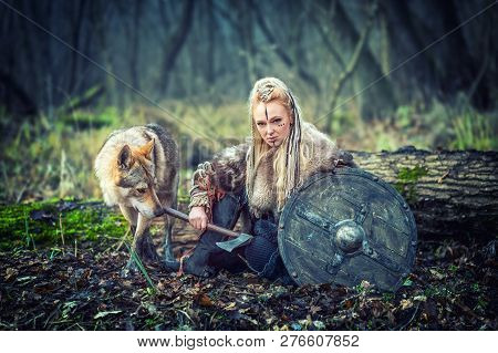 Outdoor Northern Warrior Woman With Braided Hair And War Makeup Holding Shield And Ax With Wolf Next