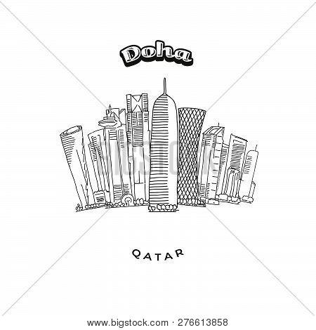 Doha Towers Skyline. Hand-drawn Vector Illustration. Famous Travel Destinations Series.