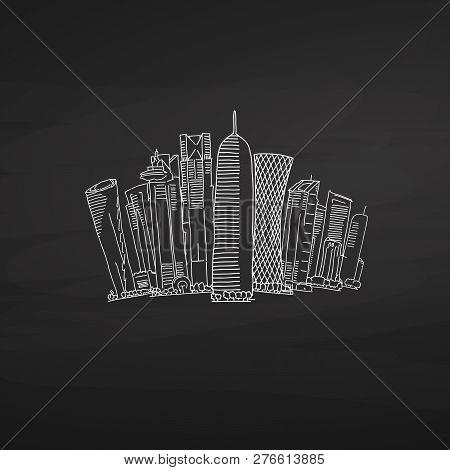 Doha Qatar Skyline On Blackboard. Hand-drawn Vector Illustration. Famous Travel Destinations Series.