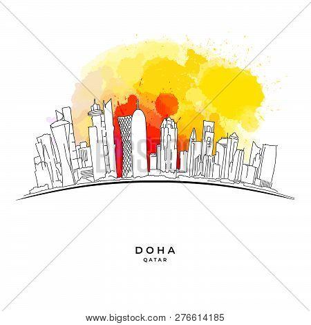 Doha Qatar Skyline On Colorful Background. Hand-drawn Vector Illustration. Famous Travel Destination
