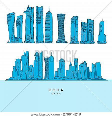 Doha Qatar Skyscraper Set. Hand-drawn Vector Illustration. Famous Travel Destinations Series.