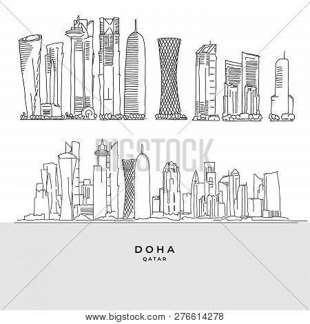 Doha Qatar Skyscaper Set. Hand-drawn Vector Illustration. Famous Travel Destinations Series.
