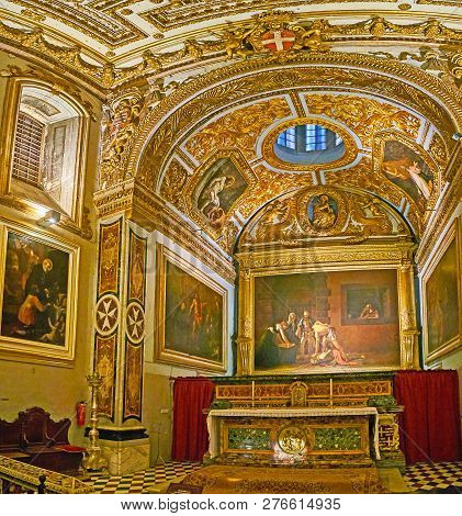 Valletta, Malta - June 18, 2018: The Masterpiece Oratory Of St John Co-cathedral With Rich Decors An
