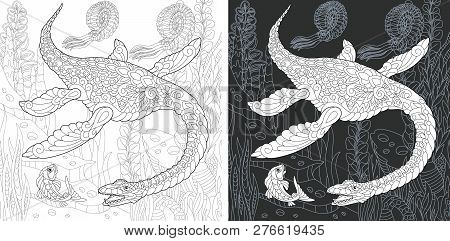 Coloring Page. Dinosaur Collection. Colouring Picture With Plesiosaurus Drawn In Zentangle Style.