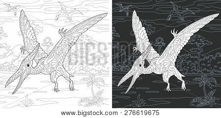 Coloring Page. Coloring Book. Dinosaur Collection. Colouring Picture With Pterodactyl Drawn In Zenta