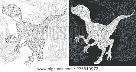 Coloring Page. Dinosaur Collection. Colouring Picture With Raptor Drawn In Zentangle Style.