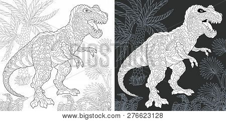 Coloring Page. Dinosaur Collection. Colouring Picture With Tyrannosaurus Rex Drawn In Zentangle Styl