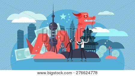 China Economic Growth And Culture Concept, Flat Tiny Persons Vector Illustration. New World Superpow