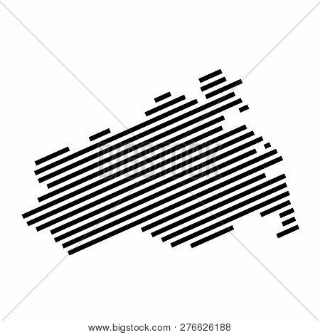 Mecklenburg-vorpommern - Isolated Striped Silhouette Map Of German Federal State Mecklenburg-vorpomm