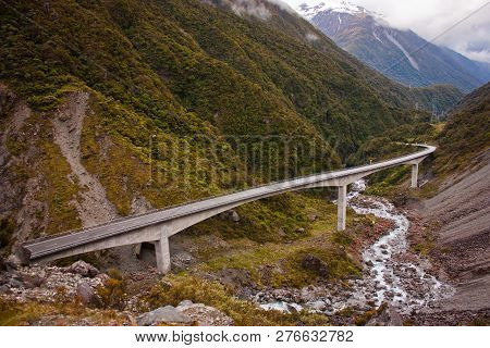 Bridge Over The Mountains Of Arthurs Pass In New Zealand