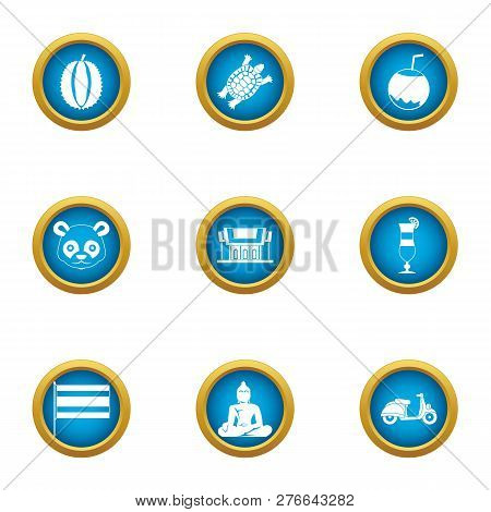 Asie Icons Set. Flat Set Of 9 Asie Icons For Web Isolated On White Background