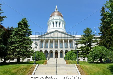 Maine State House Is The State Capitol Of The State Of Maine In Augusta, Maine, Usa. Maine State Hou