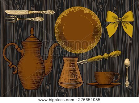 Coffee collection. Many different hands held up holding a cup of coffee, spoon, coffee pot, arabic Turk. Coffee concept. Vintage engraving stylized drawing.