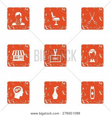 Surname Icons Set. Grunge Set Of 9 Surname Icons For Web Isolated On White Background