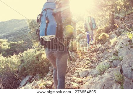 People in hike in the mountains