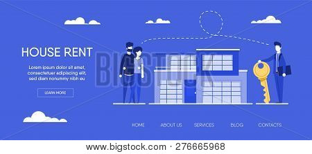 Website Template For Websites, Or Apps. Realtor Holding Key In His Hand And Sells, Rent House To You